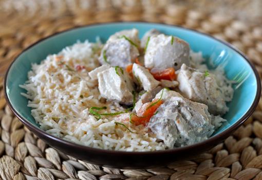 Poisson coco, gingembre et riz